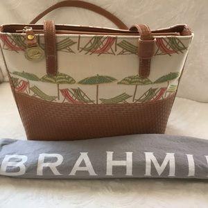 Brahmin beautiful fabric & leather handbag EUC